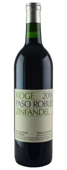 2016 Ridge Zinfandel Paso Robles