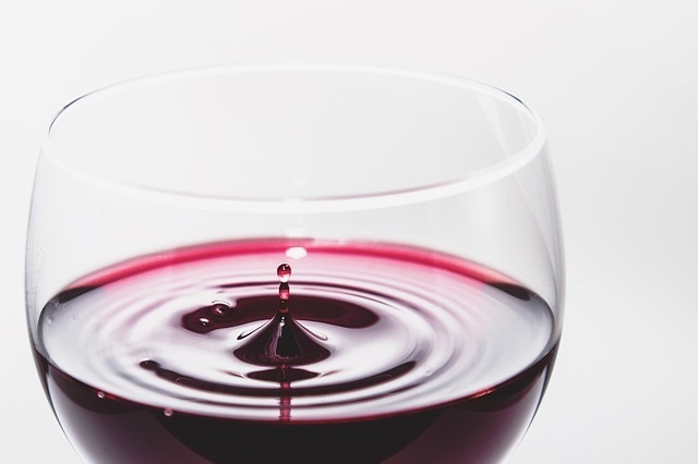 Closeup of red wine in a glass