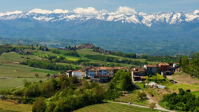 Vista of the hills and vineyards of Piemonte with snow capped mountains in the background