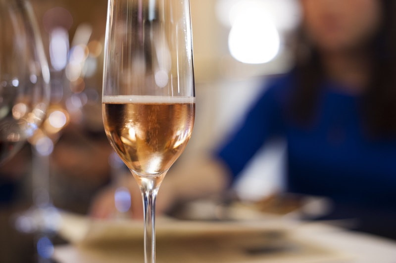 Closeup of a flute of champagne