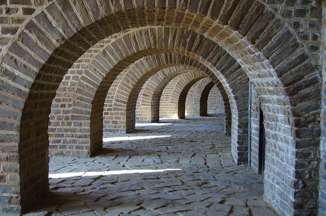 Path with stone archways