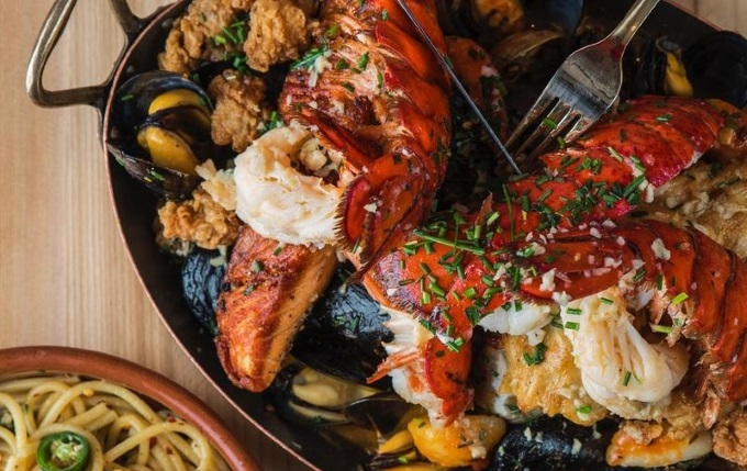 lobster & seafood in a skillet